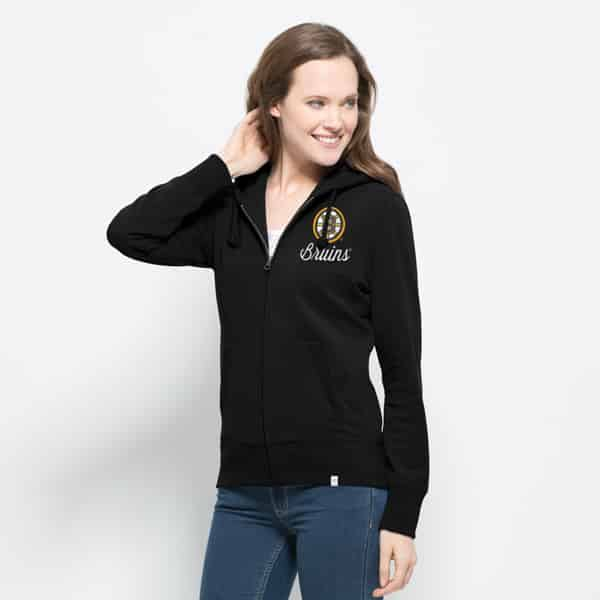Boston Bruins Cross-Check Full Zip Womens Hoodie Jet Black 47 Brand