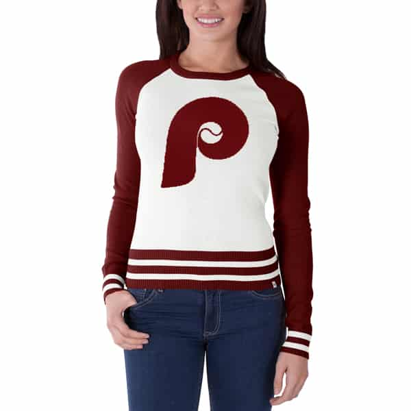 Philadelphia Phillies Passblock Sweater Womens White Wash 47 Brand