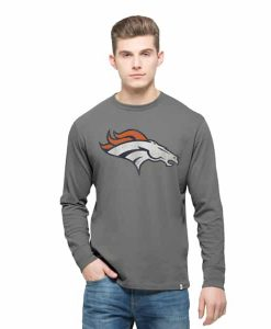 Denver Broncos Long Sleeve Flanker T-Shirt Mens Wolf Grey 47 Brand