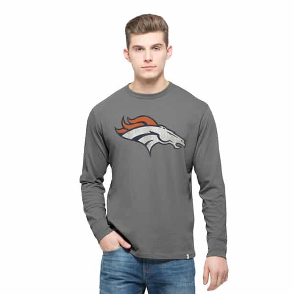 Denver Broncos Long Sleeve Flanker T-Shirt Mens Wolf Grey 47 Brand