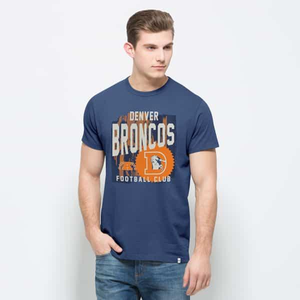 Denver Broncos Crosstown Flanker T-Shirt Mens Bleacher Blue 47 Brand