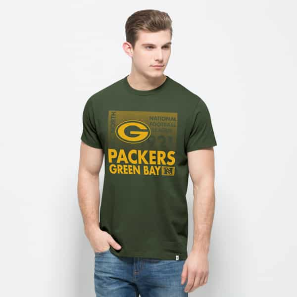 Green Bay Packers Crosstown Flanker T-Shirt Mens Bottle Green 47 Brand