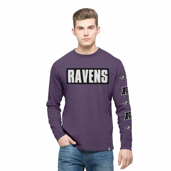 Baltimore Ravens Crosstown Team Long Sleeve Mens Grape 47 Brand