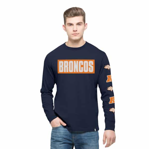 Denver Broncos Crosstown Team Long Sleeve Mens Midnight 47 Brand