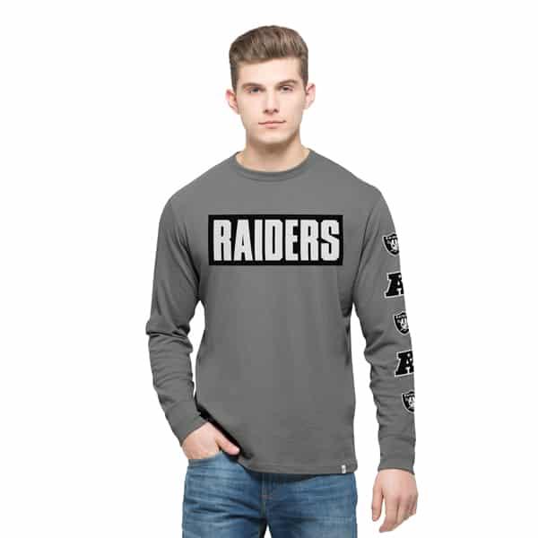 Oakland Raiders Crosstown Team Long Sleeve Mens Wolf Grey 47 Brand