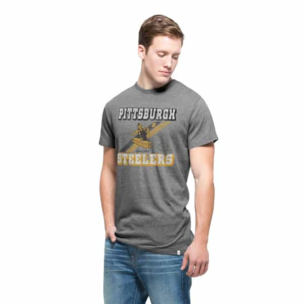 Pittsburgh Steelers Tri-State T-Shirt Mens Vintage Grey 47 Brand