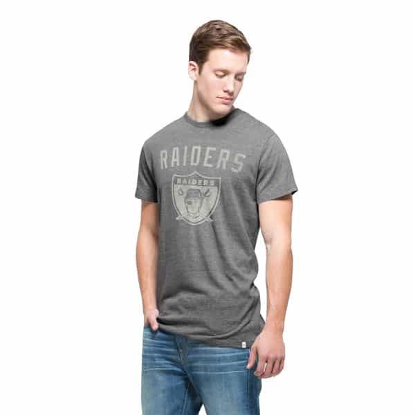 Oakland Raiders Tri-State T-Shirt Mens Vintage Grey 47 Brand