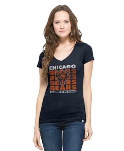 Chicago Bears V-Neck Shirt Scrum T-Shirt Womens Fall Navy 47 Brand
