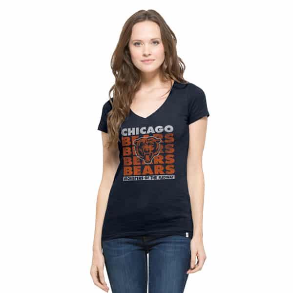 Chicago Bears V-Neck Shirt Scrum T-Shirt Womens Fall Navy 47 Brand
