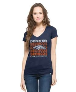 Denver Broncos V-Neck Shirt Scrum T-Shirt Womens Midnight 47 Brand