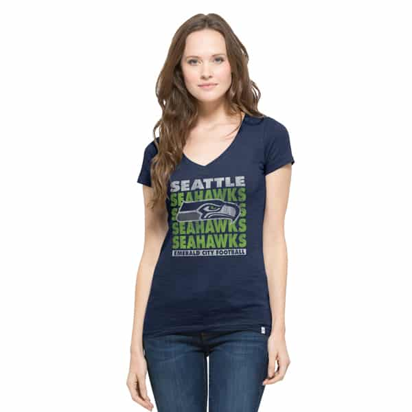 Seattle Seahawks V-Neck Shirt Scrum T-Shirt Womens Midnight 47 Brand