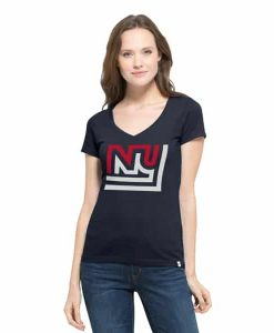 New York Giants Crosstown Flanker V-Neck Shirt Womens Fall Navy 47 Brand