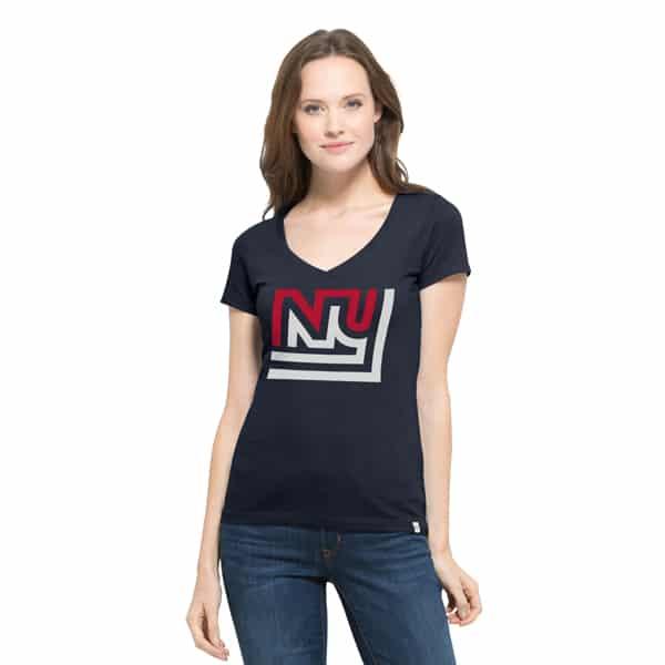 New York Giants Crosstown Flanker V-Neck Shirt Womens Fall Navy 47 Brand