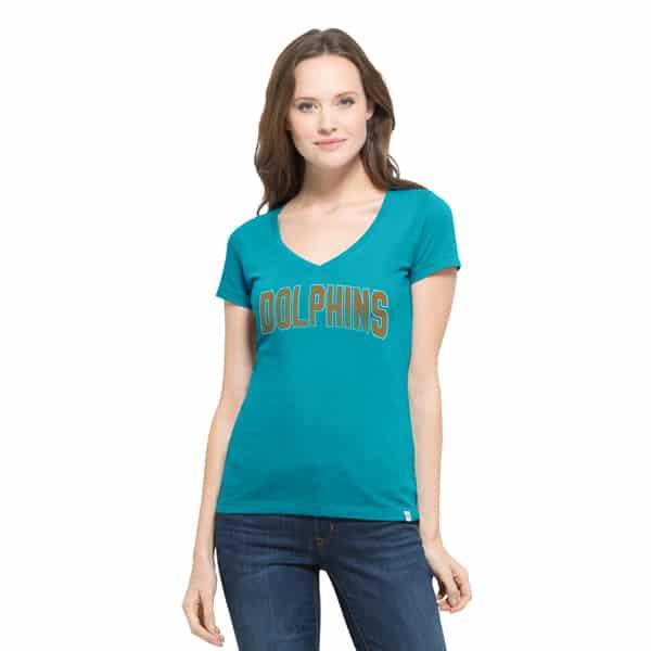 Miami Dolphins Flanker Mvp V-Neck Shirt Womens Neptune 47 Brand