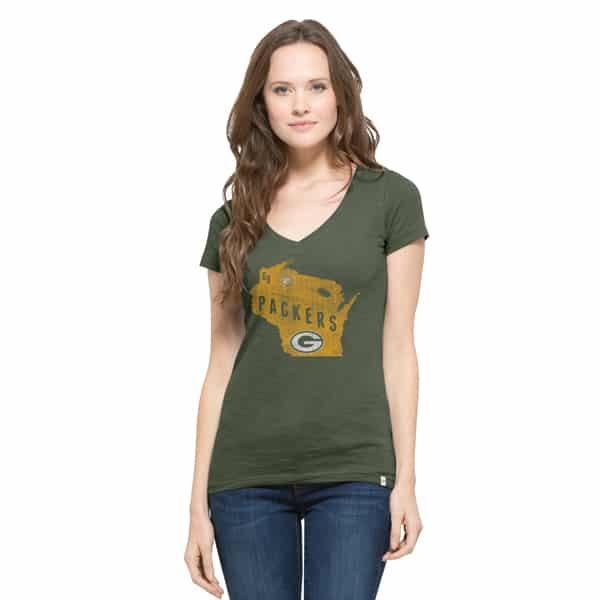 Green Bay Packers V-Neck Shirt Scrum T-Shirt Womens Bottle Green 47 Brand