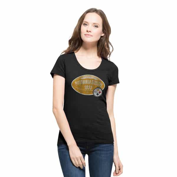 Pittsburgh Steelers Scrum Scoop T-Shirt Womens Jet Black 47 Brand