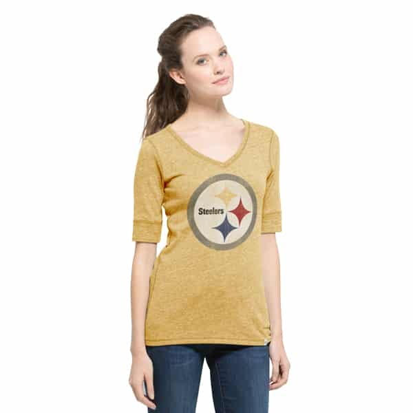 Pittsburgh Steelers Roster T-Shirt Womens Honey Gold 47 Brand