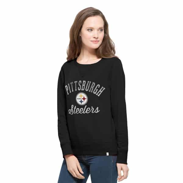 Pittsburgh Steelers Cross-Check Crew Womens Shirt Jet Black 47 Brand