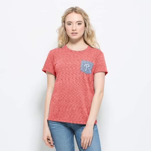 Philadelphia Phillies Splash Pocket T-Shirt Womens Cranberry 47 Brand
