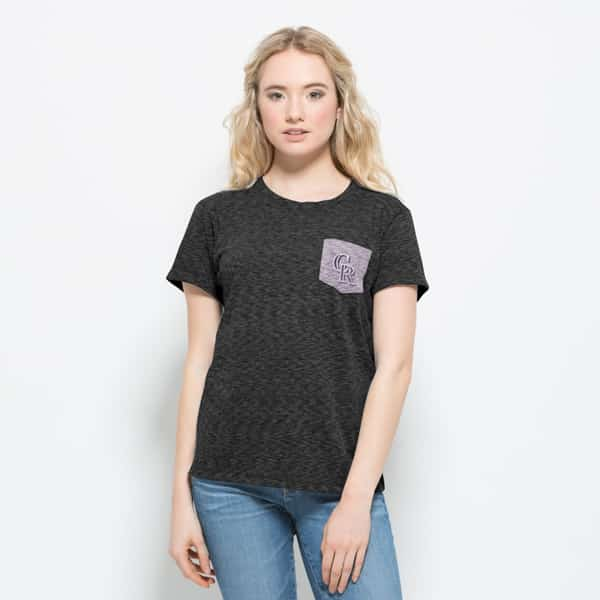 Colorado Rockies Splash Pocket T-Shirt Womens Carbon Black 47 Brand