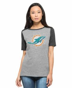 Miami Dolphins Empire T-Shirt Womens Vintage Grey 47 Brand