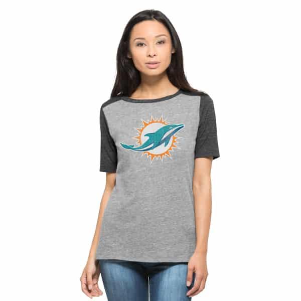 Miami Dolphins Empire T-Shirt Womens Vintage Grey 47 Brand