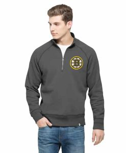 Boston Bruins Cross-Check 1/4 Zip Pullover Mens Graphite 47 Brand