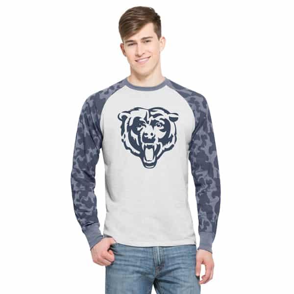 Chicago Bears Stealth Camo Raglan Mens Cinderblock 47 Brand