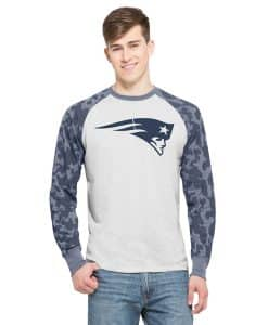 New England Patriots Stealth Camo Raglan Mens Cinderblock 47 Brand