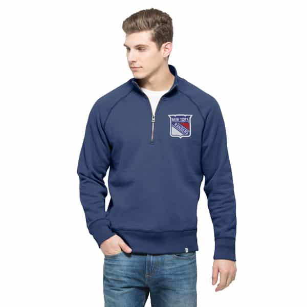 New York Rangers Cross-Check 1/4 Zip Pullover Mens Bleacher Blue 47 Brand