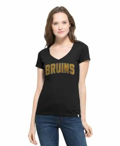 Boston Bruins Flanker Mvp V-Neck Shirt Womens Jet Black 47 Brand