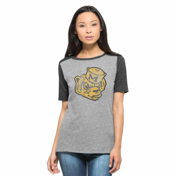 Michigan Wolverines Empire T-Shirt Womens Vintage Grey 47 Brand