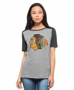 Chicago Blackhawks Empire T-Shirt Womens Vintage Grey 47 Brand