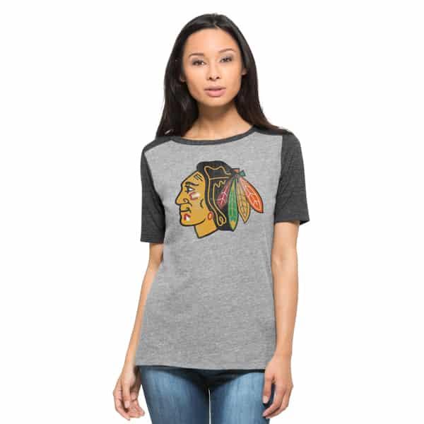 Chicago Blackhawks Empire T Shirt Womens Vintage Grey 47