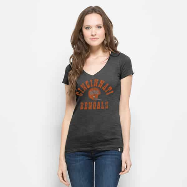 Cincinnati Bengals Mvp V-Neck Shirt Scrum Womens Charcoal 47 Brand