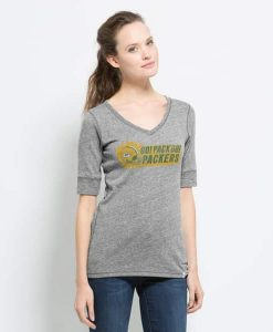 Green Bay Packers Roster T-Shirt Womens Vintage Grey 47 Brand