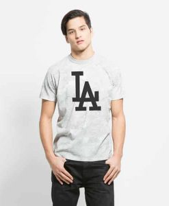 Los Angeles Dodgers Knuckle Down T-Shirt Mens Slim Marble Grey 47 Brand