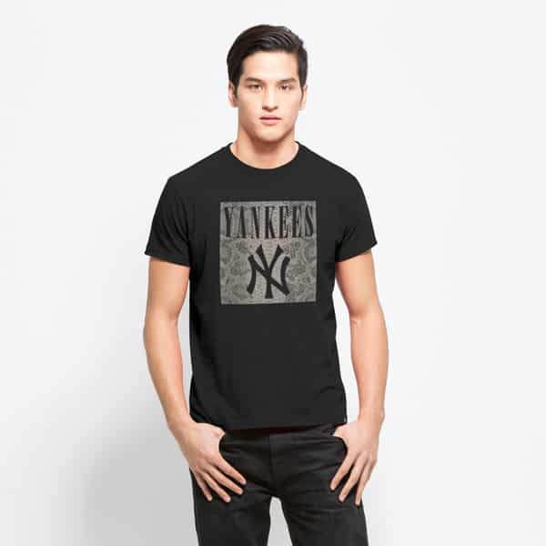 New York Yankees Boss Out Frozen Rope T-Shirt Mens Slim Jet Black 47 Brand