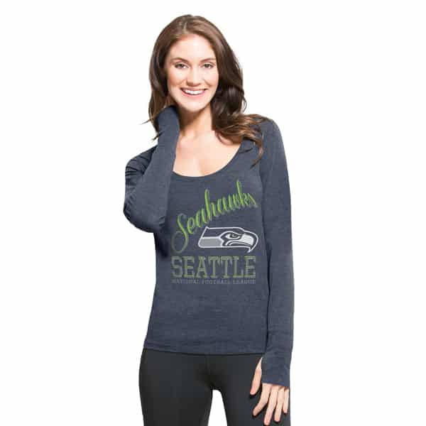 Seattle Seahawks Dash Long Sleeve T-Shirt Womens Shift Navy 47 Brand