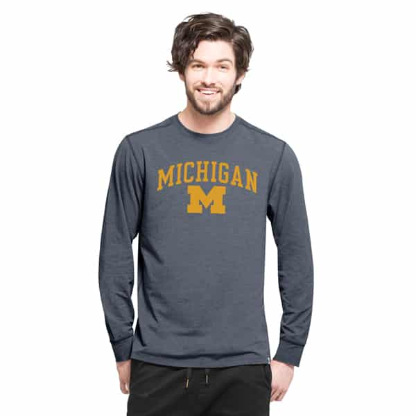 Michigan Wolverines Cadence Long Sleeve T-Shirt Mens Shift Navy 47 Brand