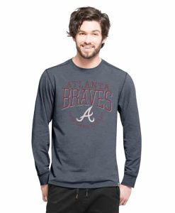 Atlanta Braves Cadence Long Sleeve T-Shirt Mens Shift Navy 47 Brand
