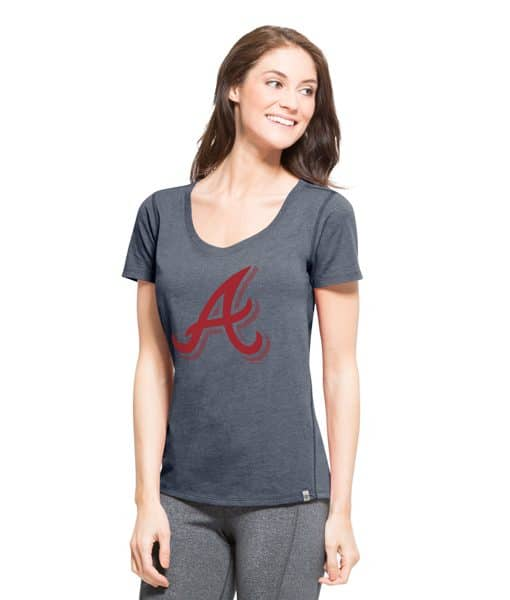 Atlanta Braves High Point T-Shirt Womens Shift Navy 47 Brand