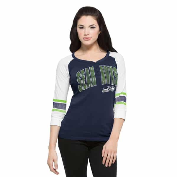 Seattle Seahawks Rookie Long Sleeve Henley Womens Midnight 47 Brand