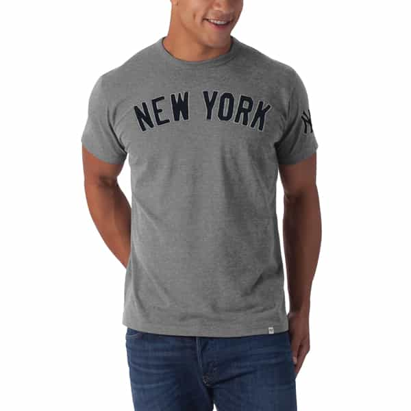 New York Yankees Men's 47 Brand Grey Fieldhouse T-Shirt Tee