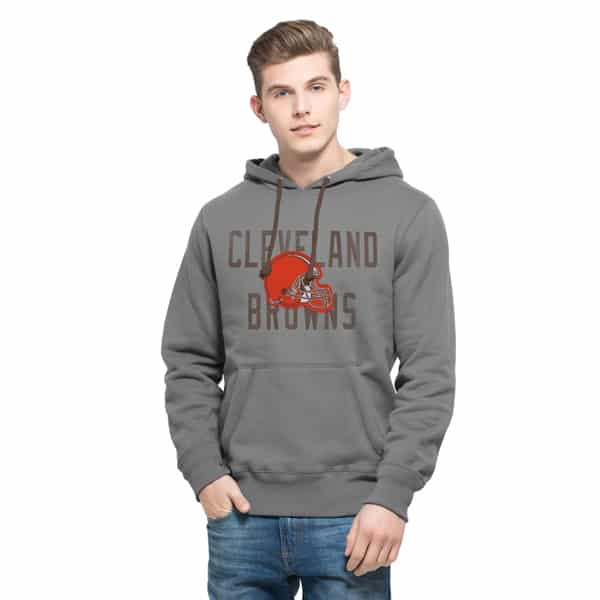 Cleveland Browns Cross-Check Pullover Hoodie Mens Wolf Grey 47 Brand