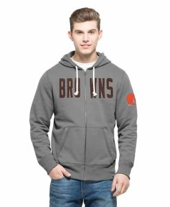 Cleveland Browns Cross-Check Full Zip Hoodie Mens Wolf Grey 47 Brand