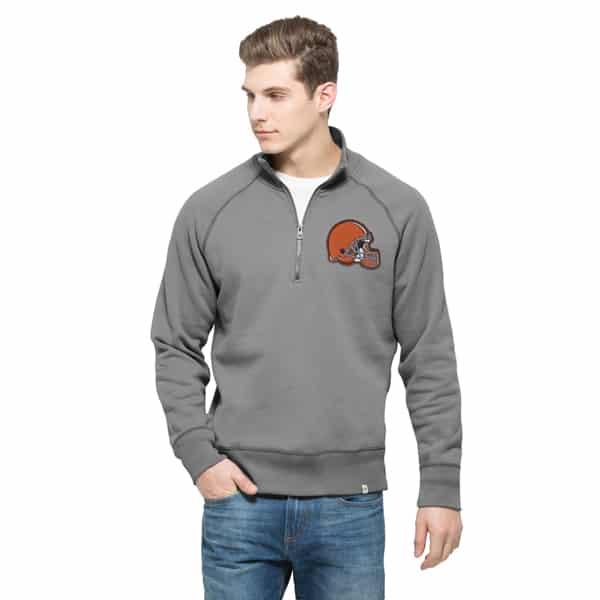 Cleveland Browns Cross-Check 1/4 Zip Pullover Mens Wolf Grey 47 Brand