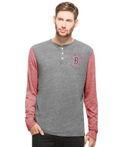 Boston Red Sox Midfield Henley Mens Neps Grey 47 Brand
