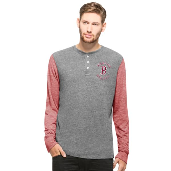 Boston Red Sox Midfield Henley Mens Neps Grey 47 Brand