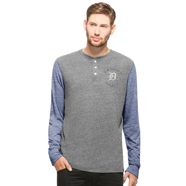 Detroit Tigers Midfield Henley Long Sleeve Shirt Mens Neps Grey 47 Brand